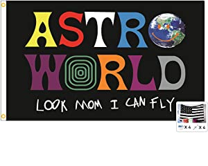 Astroworld Travis Scott Flag Look Mom I Can Fly 3x5 Feet Banner,Funny Poster UV Resistance Fading & Durable Man Cave Wall Flag with Brass Grommets for College Dorm Room Decor,Outdoor