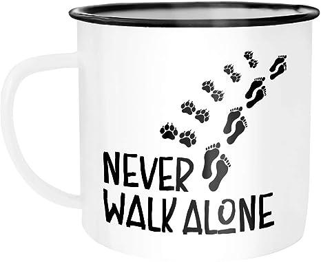 EMAILLE BECHER Retro Tasse ES GIBT SO VIELE HUNDE Geschenk Hundeliebhaber