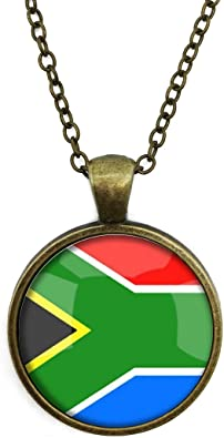 The Republic Of South Africa National Flag 4 Base Colors Selection Necklace Time Gemstone Pendant Bronze Box Chain Steampunk Retro Jewelry Birthday Gift Gifts For Him Gifts For Her Amazon Co Uk Jewellery
