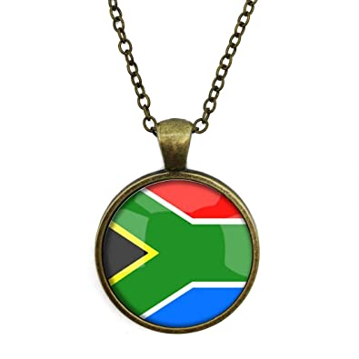 The Republic Of South Africa National Flag 4 Base Colors Selection Necklace Time Gemstone Pendant Bronze
