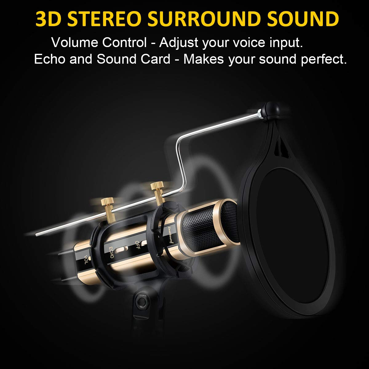USB Microphone, ZealSound Metal Condenser Recording Microphone For Laptop MAC Windows Computer And Phone w/Stand for ASMR Garageband Smule Stream & Youtube Video Studio Voice Overs Broadcast (Gold) by ZealSound (Image #3)