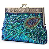 UBORSE Beaded Sequin Peacock Blue Evening Clutch Bags Party Wedding Purse