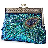 Chichitop Beaded Sequin Peacock Evening Clutch Bags,Blue