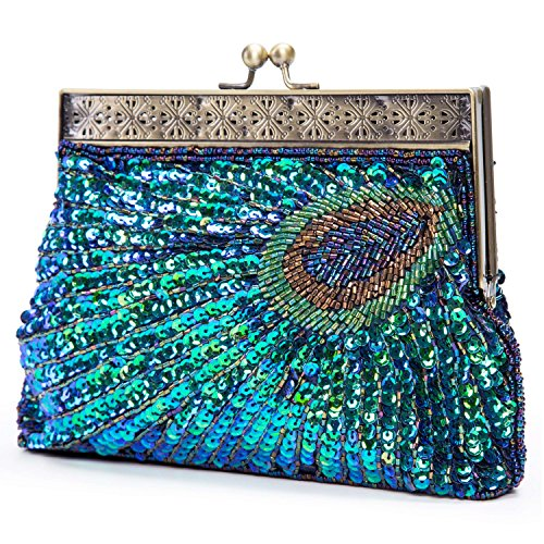 UBORSE Beaded Sequin Peacock Blue Evening Clutch Bags Party Wedding Purse]()