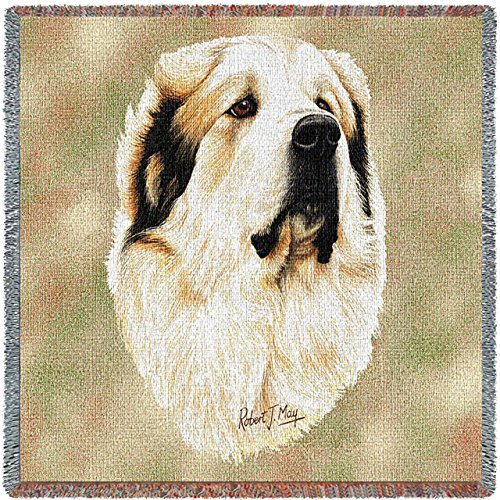 Pure Country 1188-LS Great Pyrenees Pet Blanket, Canine on Beige Background, 54 by 54-Inch (Ornaments Afghan White)