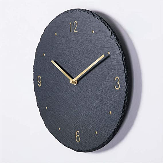 Image of GRENSS - Reloj de pared de 12 pulgadas Creative Slate para salón, estilo moderno, 10 pulgadas, 02, 12 pulgadas