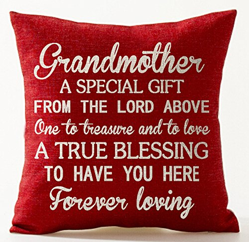 Best Gift for Mother Grandmother A from The Lord Above One The Treasure and to Love Red Cotton Linen Throw Pillow Case Cushion Cover Home Office Decorative Square 18 X 18 Inches