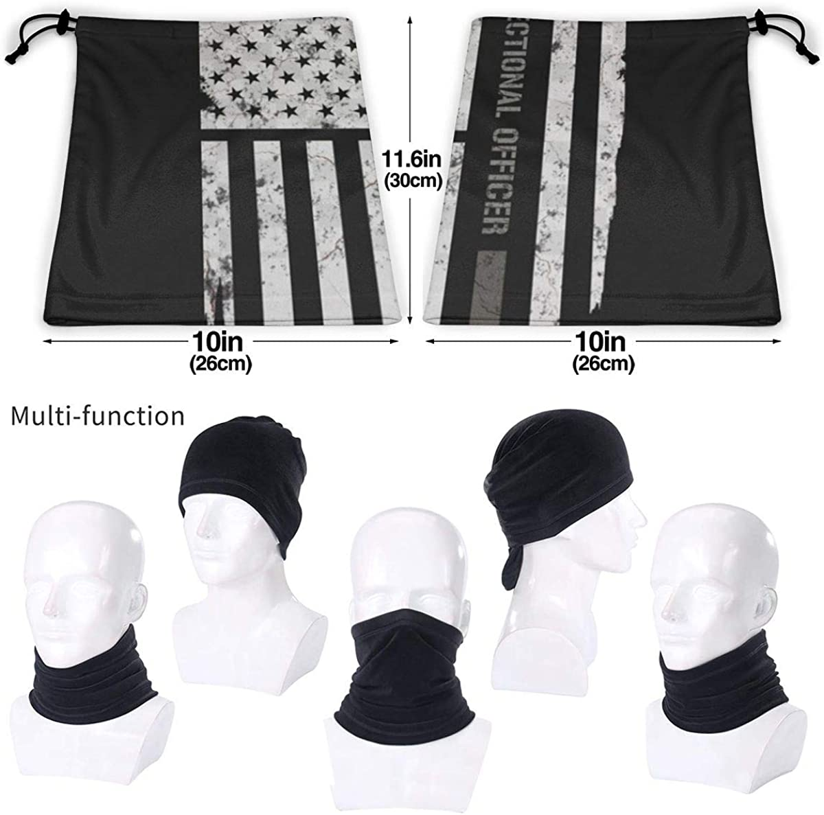 Speed FQ Thin Silver Line Correctional Officer Microfiber Neck Warmer Unisex Face Mask