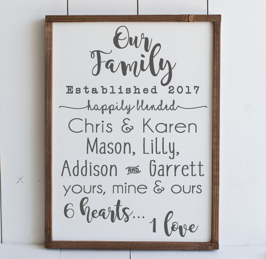 Personalized Blended Family Gifts Family Wedding Gifts Home Decor Sign Blended Wedding Gift Wedding