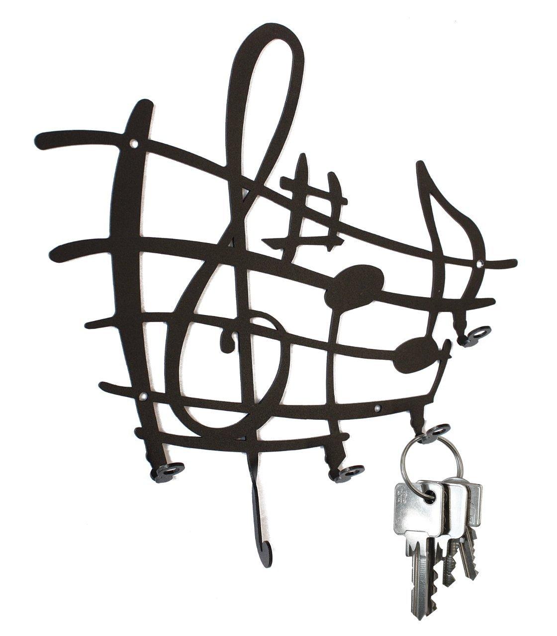 Key Hook Sheet of Music - Clef -Wall Key Holder, Metal, Black steelprint.de SB30-0005-01
