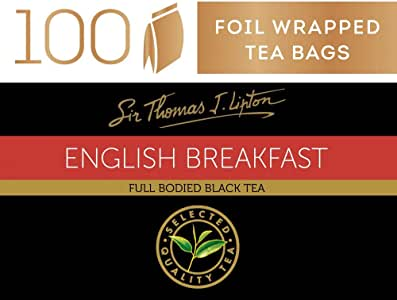 Sir Thomas Lipton English Breakfast, Foil Wrapped Tea Bags, 100 Pieces, English Breakfast