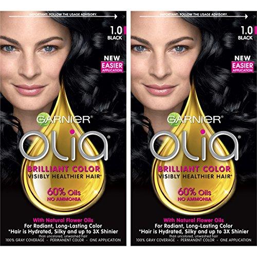 Garnier Olia Ammonia-Free Brilliant Color Oil-Rich Permanent Hair Color, 1.0 Black (2 Count) Black Hair Dye ()