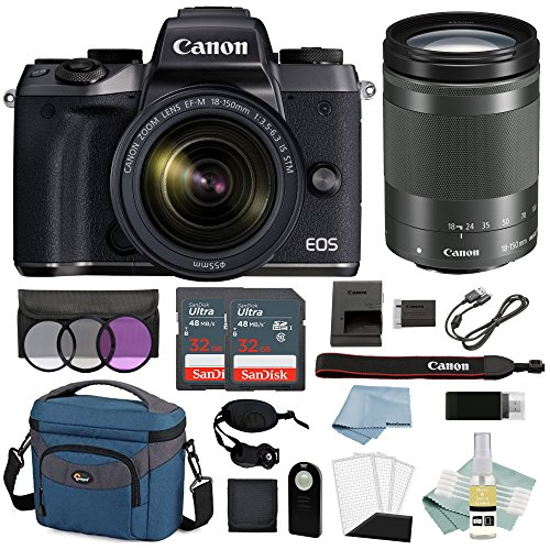 Canon EOS M5 Digital Camera With 18-150mm f/3.5-6.3 IS STM Lens + Advanced Accessory Bundle - Includes EVERYTHING You Need To Get Started