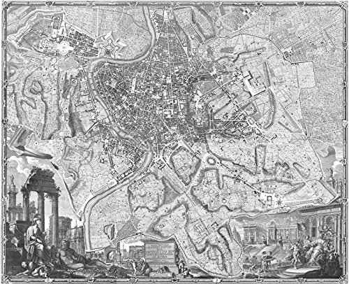 Rome Engraving (18th Century 1748 Map of Rome, Italy Engraving by Giambattista Nolli 25.5