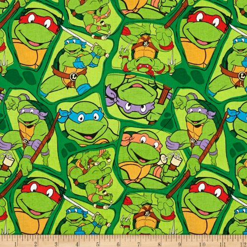 Nickelodeon Teenage Mutant Ninja Turtles Heros in a Half Shell Toss Green Fabric By The Yard