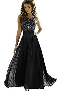 MEILISAY Meilishuo Womens Sparkly Beading Prom Dresses Chiffon Long Evening Formal Dresses