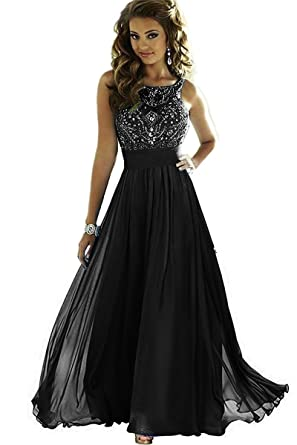 b8874ca310f7 MEILISAY Meilishuo Women s Sparkly Beading Prom Dresses Chiffon Long  Evening Formal Dresses Black