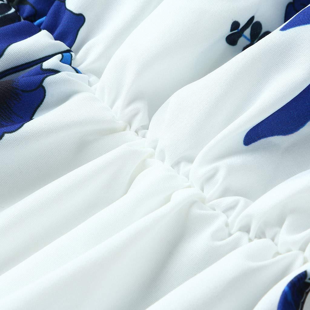 Peigen Womens Off Shoulder Ruffles Floral Mini Dress Casual Pleated Party Short Dress with Belt