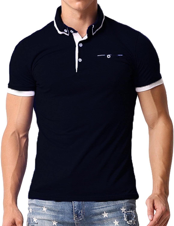 MODCHOK Hombre Polo Camiseta Manga Corta Henley Algodón Clásico Básico Botones