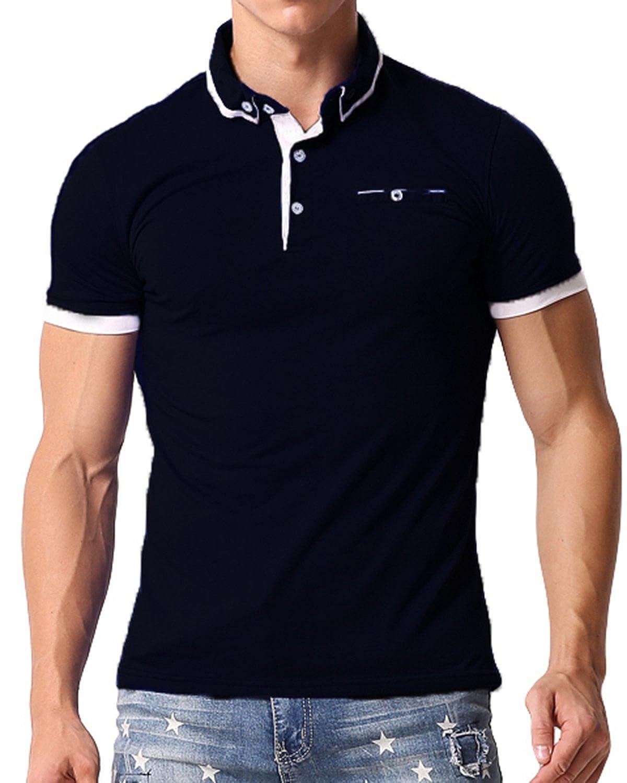 TALLA XL. MODCHOK Hombre Polo Camiseta Manga Corta Henley Algodón Clásico Básico Botones