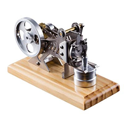 PeleusTech Stirling Engine Model Solid Wood Baseplate All Metal Stirling Engine Generator for Adults: Toys & Games