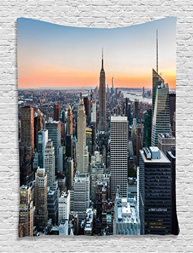 Tapestry Fabric Panel (Wall Art Decor New York City Themed Decor Art Picture Rose Quartz Manhattan Skyline Sunset Lighted Fabric Room Divider Panel Landscape Photography Wall Hanging Tapestry for Bedroom, Blue Orange Gray)