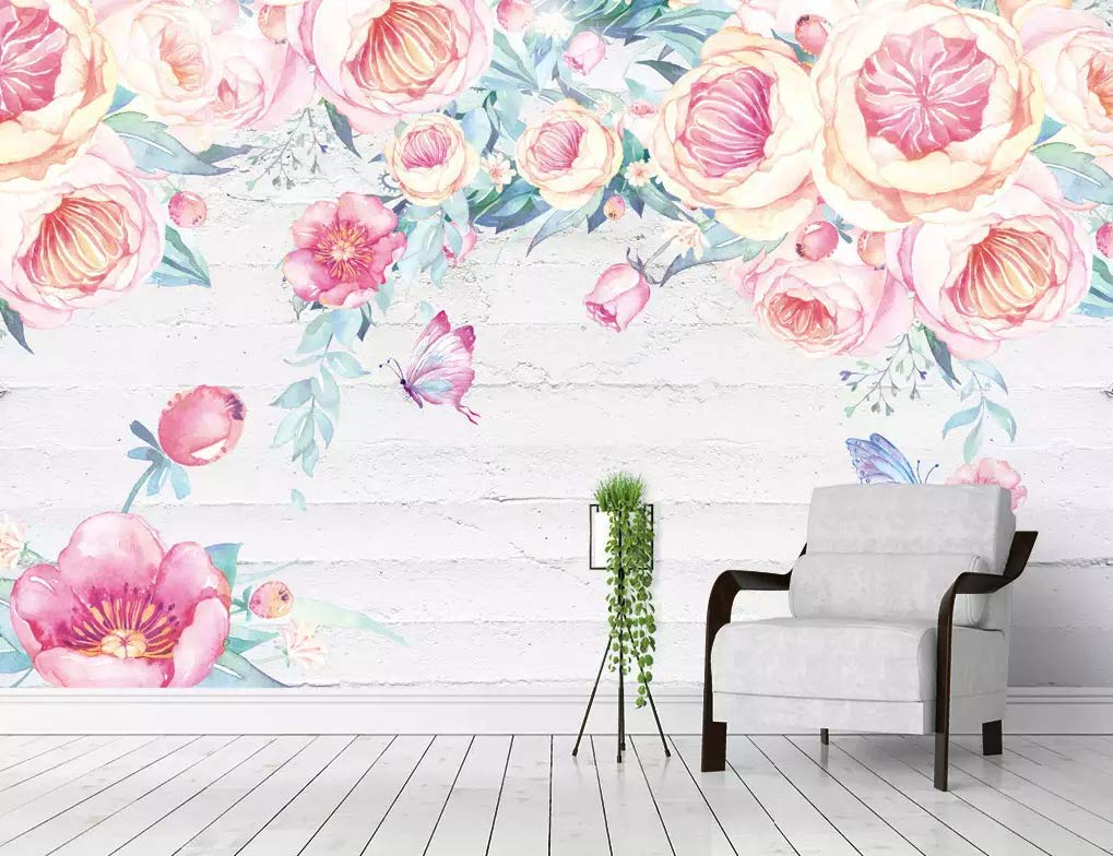 Amazon Com Murwall Watercolor Floral Wallpaper Vintage Flower Wall Mural Pink Vine Blossom Wall Art English Home Decor Living Room Entryway Handmade