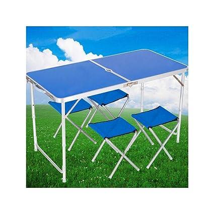 Mesa de Picnic Plegable para 4 Personas con Altura Ajustable, portátil y Liviana, para
