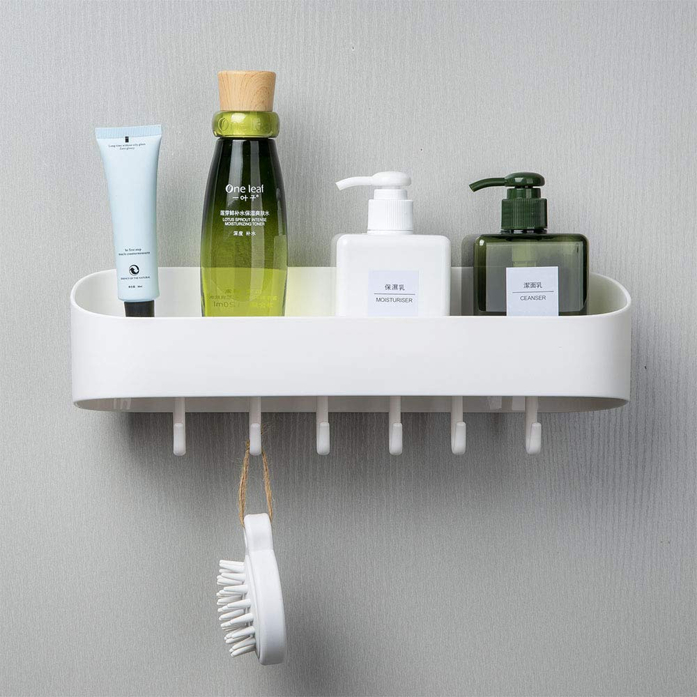 Cosytime Bathroom Wall Shelf With Hooks,13 Inch Long White Bathroom Towel Shelf Mounted,Self Adhesive No Drilling Removable Plastic Sink Decro Shelf Organizer For Kitchen,Bedroom,Toilet,No Drainage