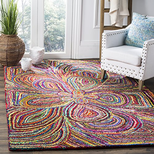 Safavieh Nantucket Collection NAN445A Handmade Abstract Multicolored Cotton Square Area Rug (4' - Expression Area Abstract Rug