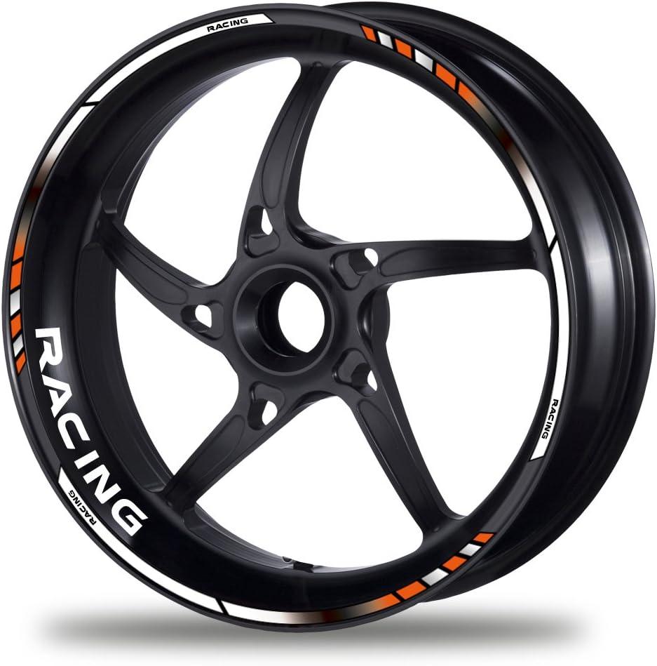 FELGENRANDAUFKLEBER GP Color Style Felgenaufkleber Felgenbett Auswahl nach ccm oder Racing RACING, oc-orange//black