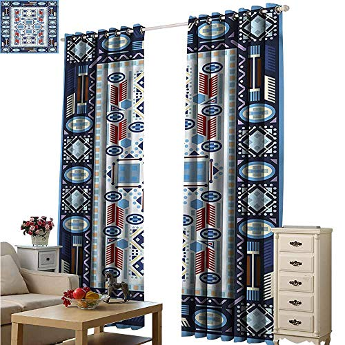 Fakgod Window Curtain Panel Afghan Blue Toned Square Circle Room Darkening, Noise Reducing W120x72L