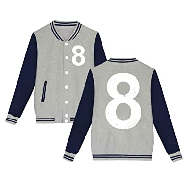 huge discount 31bee 64eee Amazon.com: Lucky Number 8 Baseball Uniform Jacket Sport ...
