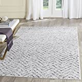 Safavieh Adirondack Collection ADR104N Ivory and Charcoal Modern Distressed Chevron Area Rug (9′ x 12′)