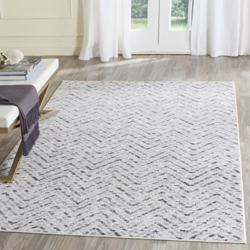 Cheap Safavieh Adirondack Collection ADR104N Ivory and Charcoal Modern Distressed Chevron Area Rug (6′ x 9′)