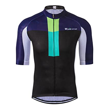 Weimostar Men s Cycling Jersey Biking Shirts with Pockets Breathable Blue  Black Size S 794d561ea