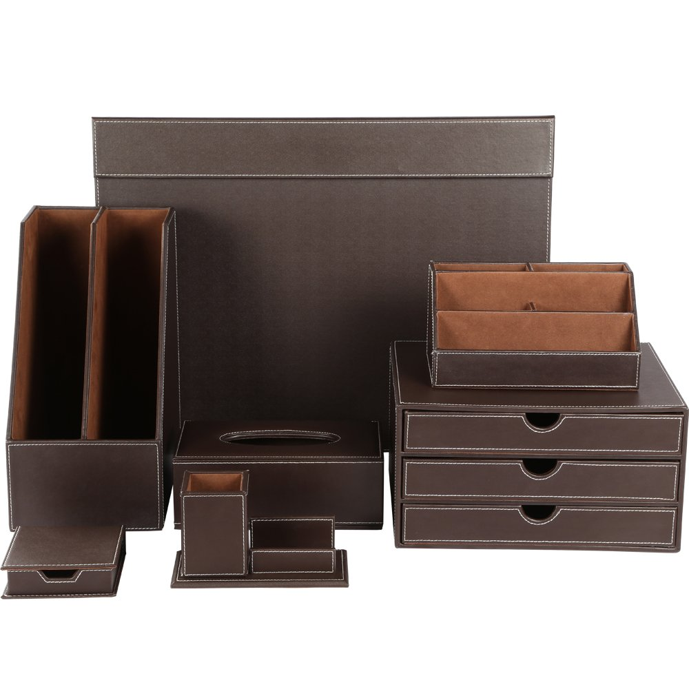 KINGFOM Desk Organizer Set 7 PCS Office Supplies Set Including Files Holder Cabinet, Desk Organizer Drawer, Tissue Box Cover, Desk Pad, Storage Box, Note Paper Holder, Multifunction Pencil Holder T06K by KINGFOM