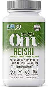 Om Reishi Mushroom Capsules, Adaptogen, Stress and Immune Support, Mushroom Supplement, 2000mg dose, 90 Count (30 Day Supply), Vegan