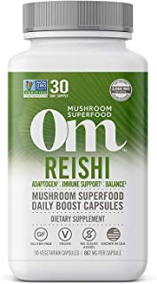 product image for Om Reishi Mushroom Capsules, Adaptogen, Stress and Immune Support, Mushroom Supplement, 2000mg dose, 90 Count (30 Day Supply), Vegan