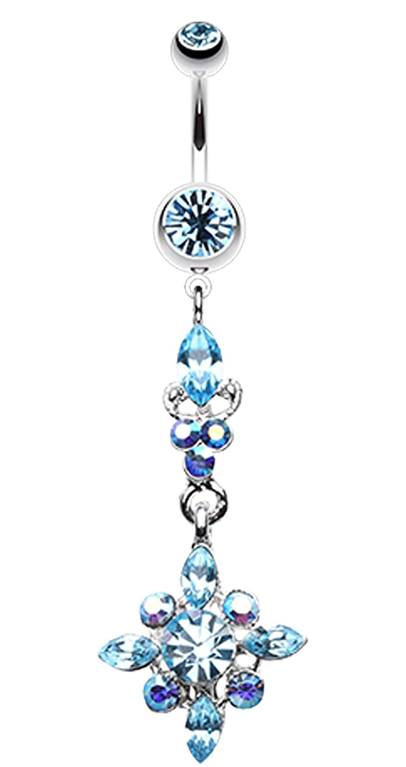 - Sold Individually 1.6mm Dangling Shine Drops Belly Button Ring 14 GA