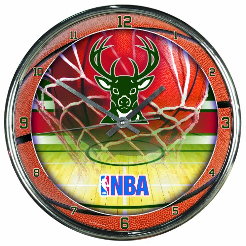 NBA Milwaukee Bucks Chrome Clock
