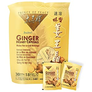 Prince of Peace Instant Ginger Honey Crystals, 30 ct Bags - 18 g Sachets, - PACK OF 4