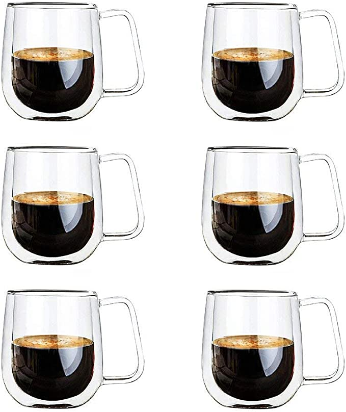 EZOWare Double Wall Coffee Mug Set, Clear Glass Thermal Insulated Cups with Handles for Hot or Cold Beverages, Coffee, Tea, Cocoa, Latte, Cappuccino