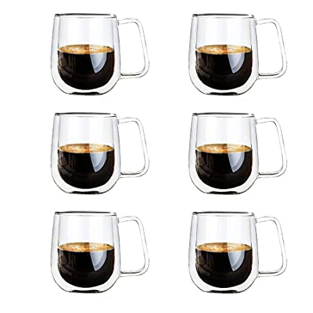 Vicloon Cristal Vidrio de Doble Pared, Taza de Cafe Doble 250 ml ...