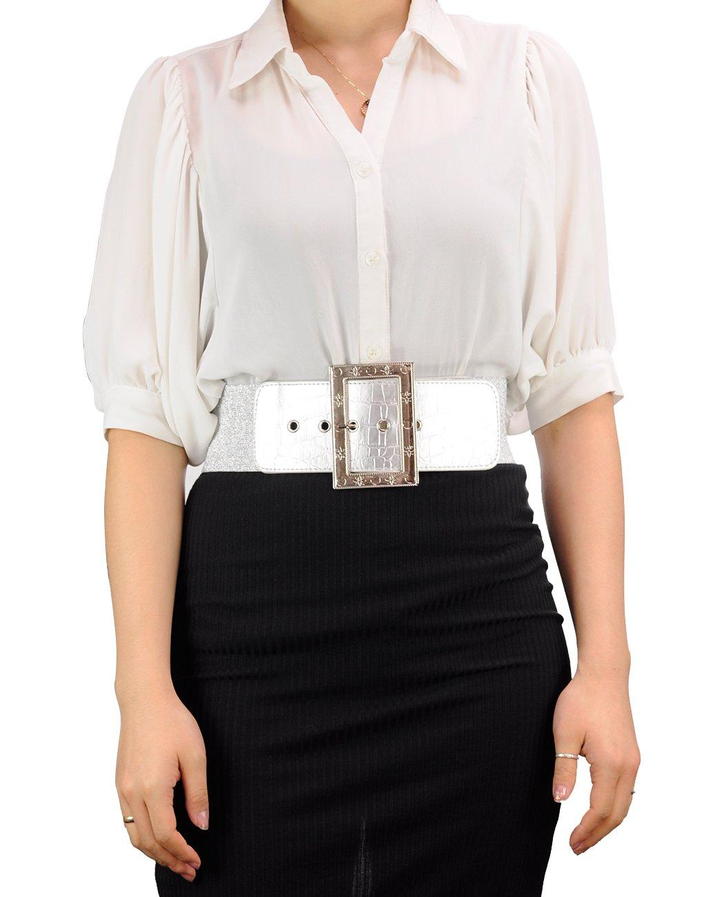 Women's Square Buckle Faux Leather Fashion Belt-EF23-Black-L