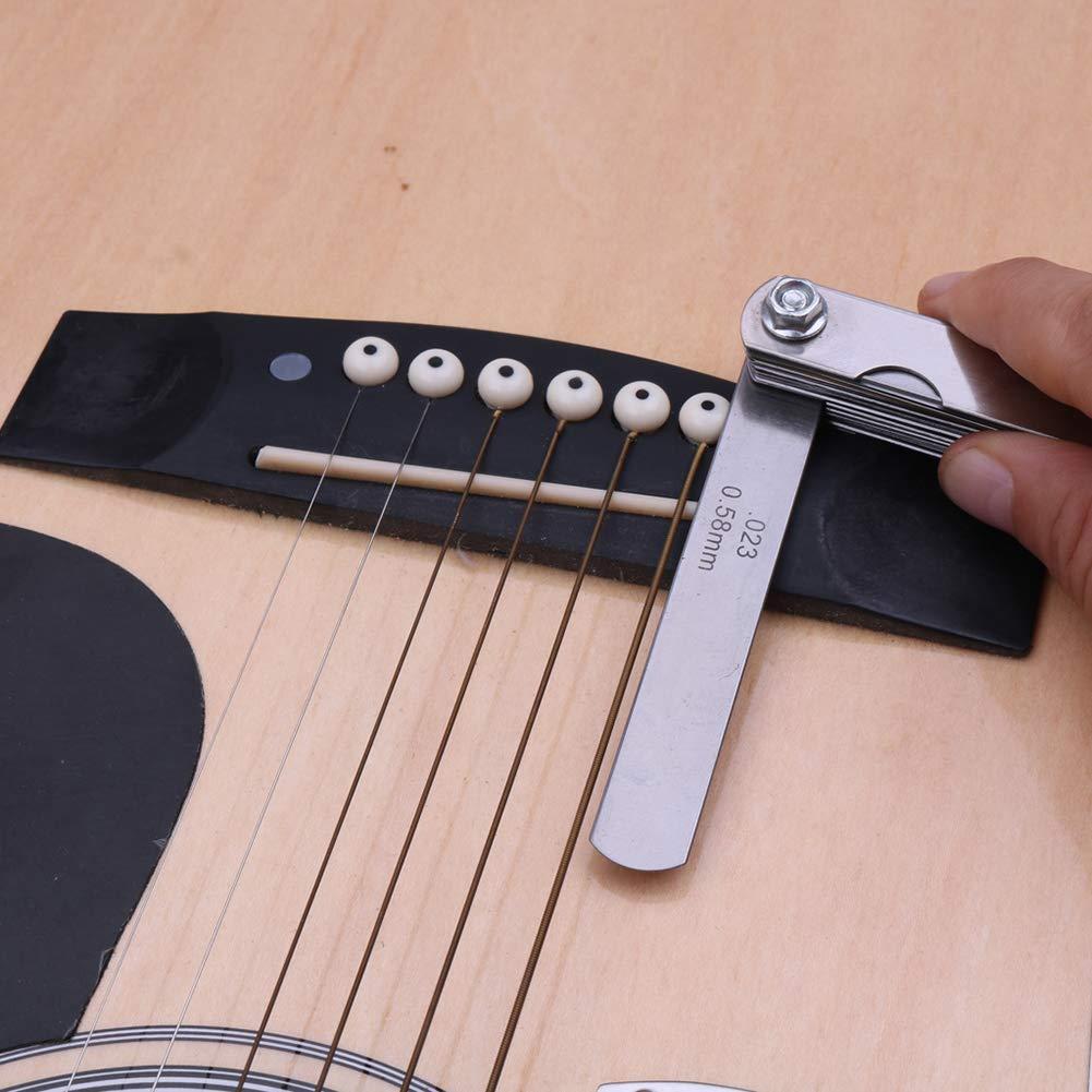 drrerytu Gitarren-//Bass-Werkzeuge Lineal aus Edelstahl Schutz Untersaiten-Radiuslehre