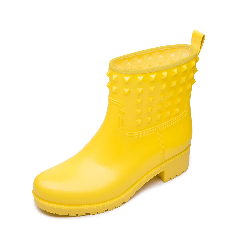 DKSUKO Women's Rain Boots with Fashion Rivet Short Ankle Waterproof Rubber Boots 3 Colors (9 B(M) US, Yellow)