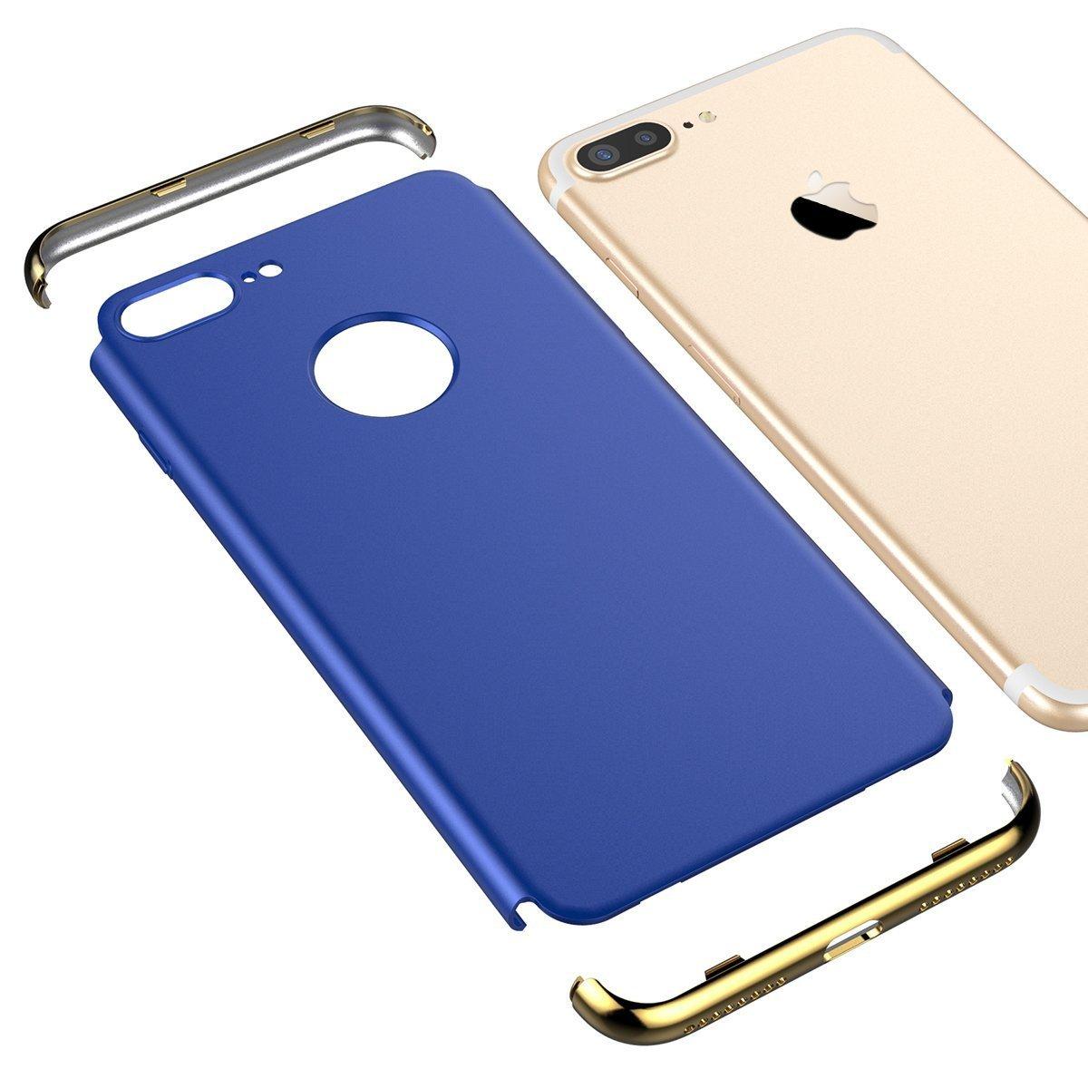 VemMore iPhone 8 Plus Hülle Hard Case Handyhülle Ultra Slim Dünn 360 Hardcase Full Body Protection [3 in 1] Bumper Schutz Schutzhülle Anti-Kratzer Elegant Protective Stoßfest Hart PC Cover - Rose Gold DRVMIP8PY171107-01