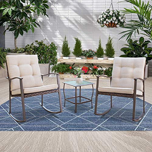 Incbruce Outdoor 3-Piece Rocking Chair Bistro Set Brown Wicker Furniture All-Weather Steel Frame - Two Chairs with Beige Cushions and Glass-Top Table, Garden, Pool, Backyard (Furniture Outdoor Bench Rocking)