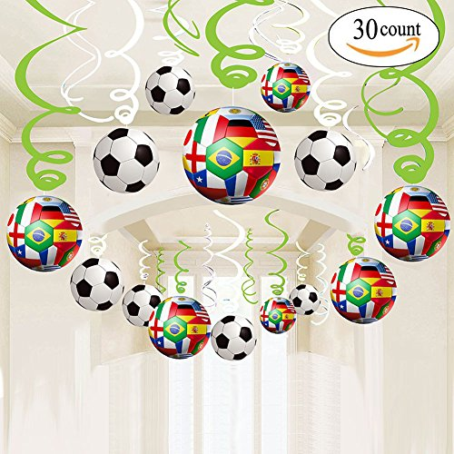 2018 World Cup Party Swirl Decorations - 30 CT Hanging Swirl for Soccer Party Supplies Theme Birthday Party Decorations, - Soccer World Cup Pictures